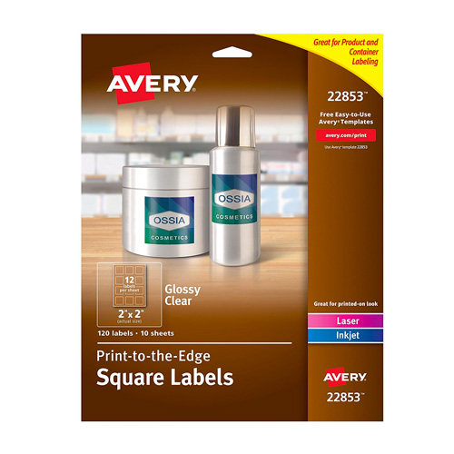 avery print to the edge glossy clear square labels 2 x 2 pack of